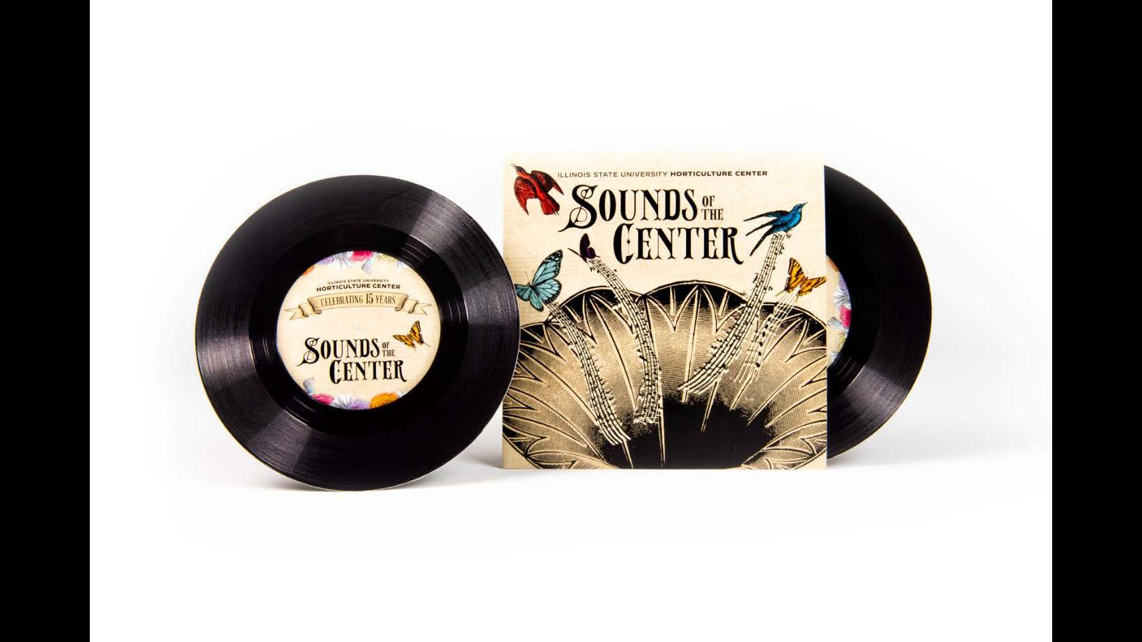 Marketing, Marketing on a Shoestring (Silver): Illinois State University Horticulture Center's Sounds of the Center events marketing materials designed by Jeff Higgerson and Sean Thornton for the Illinois State University Horticulture Center. album and album cover