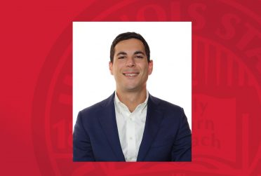 Headshot of Dr. Tebba on a red background