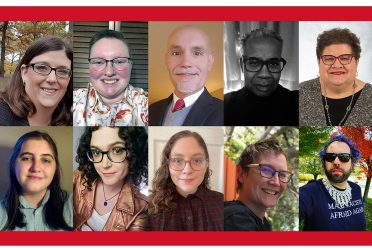 Composit image showing the 10 members of the 2021 Queer Coalition Executive Board