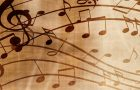 musical notes on a weathered page