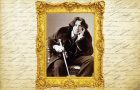 artwork from the production program Gross Indecency: The Three Trials of Oscar Wilde depicting an image of Oscar Wilde on a background of his writings
