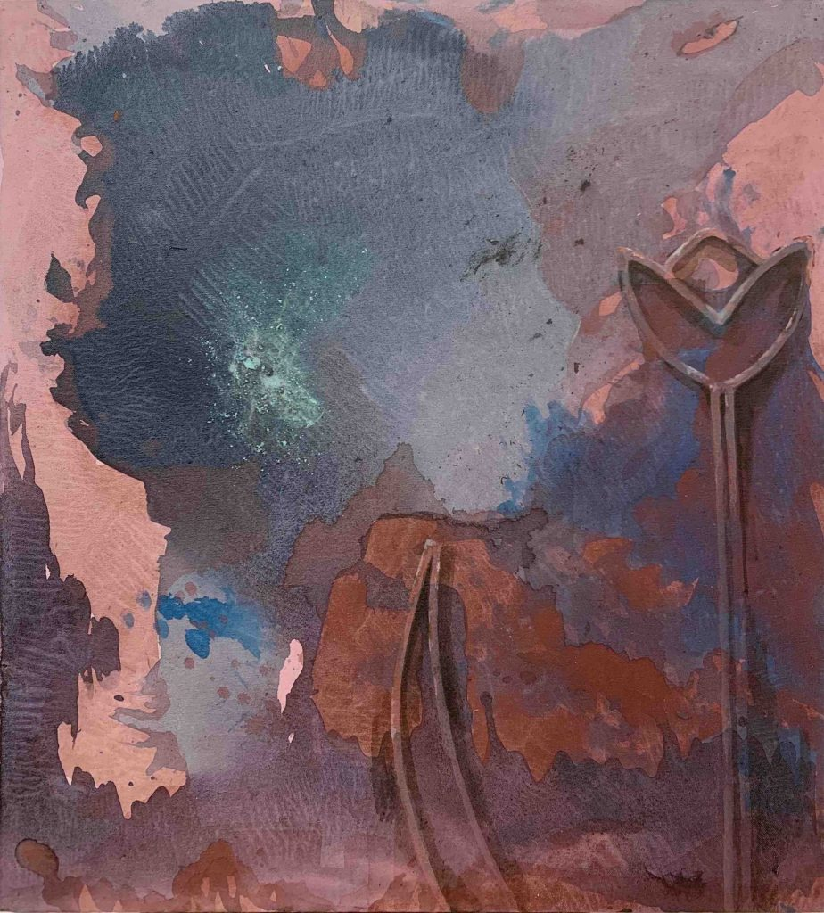 Painting by Shahrbanoo Hamzeh. Abstract piece reflecting her ideas for the Image of Research Competition.
