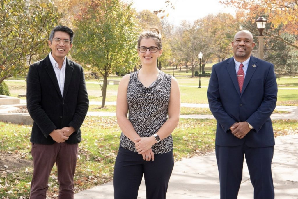 New faculty members Jason Reblando, Samantha McDonald, and Nathan Stephens pose for a photo on the Illinois State University quad.