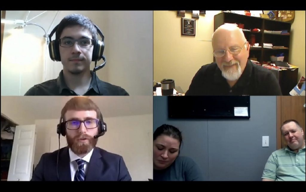 May 2020 grad Michael Reyes, School of IT Staff Member Tal Parmenter, Epilepsy Program Coordinator Stephanie Harcharik and Executive Director John Mallaney of Streator Unlimited, and Illinois State senior Chance Cook on a Zoom call.