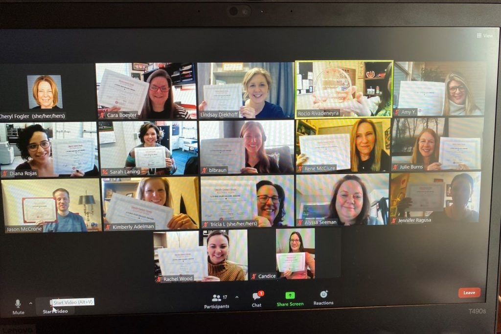Eckelmann-Taylor Speech and Hearing Clinic faculty and staff on a Zoom call