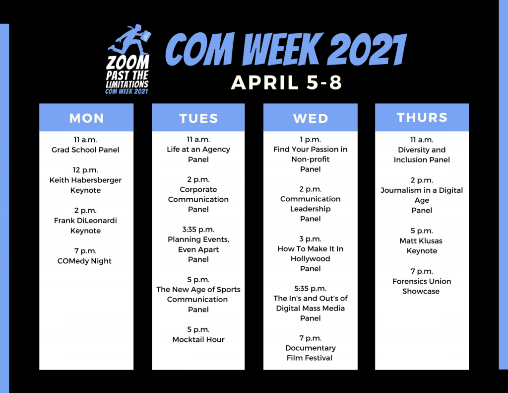 Schedule for COMWeek 2021, April 5-8. Schedule can be found at https://about.illinoisstate.edu/comweek/