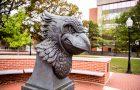 bronze bust of Reggie Redbird