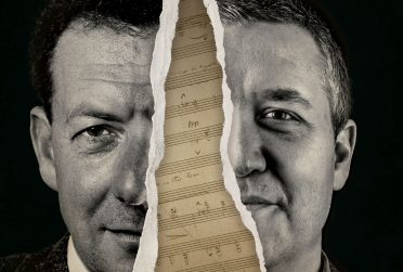 Redbird Scholar Spring 2017 cover textless showing Benjamin Britten and Dr. Justin Vickers separated by a ripped page of music composition