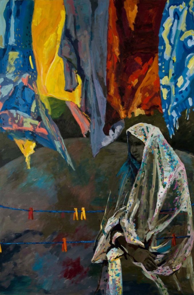 Painting by Shahrbanoo Haamzeh. Woman in cultural clothing standing beneath a clothesline of colorful sheets.