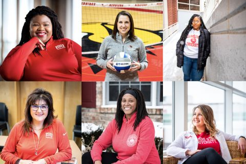 6 headshots of Redbird women on campus
