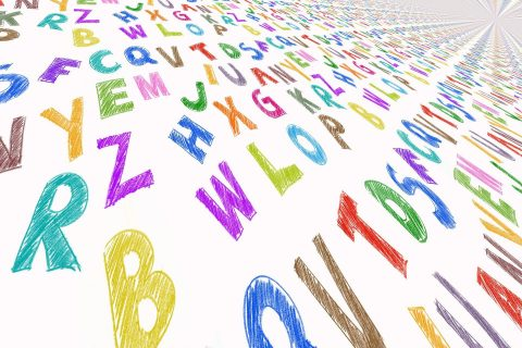 Colored letters on a piece of paper