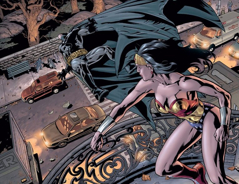 comic of Wonder Woman punching Batman