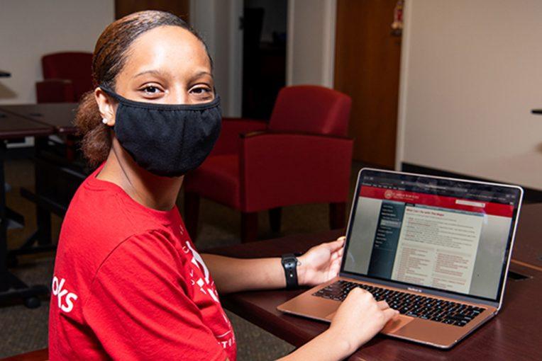 student working as a career ambassador