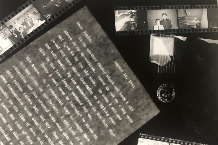 Photography by Toni DiPrima '22 (BFA Art) depicting film negatives and a letter to Julie light-sensitive photographic paper.
