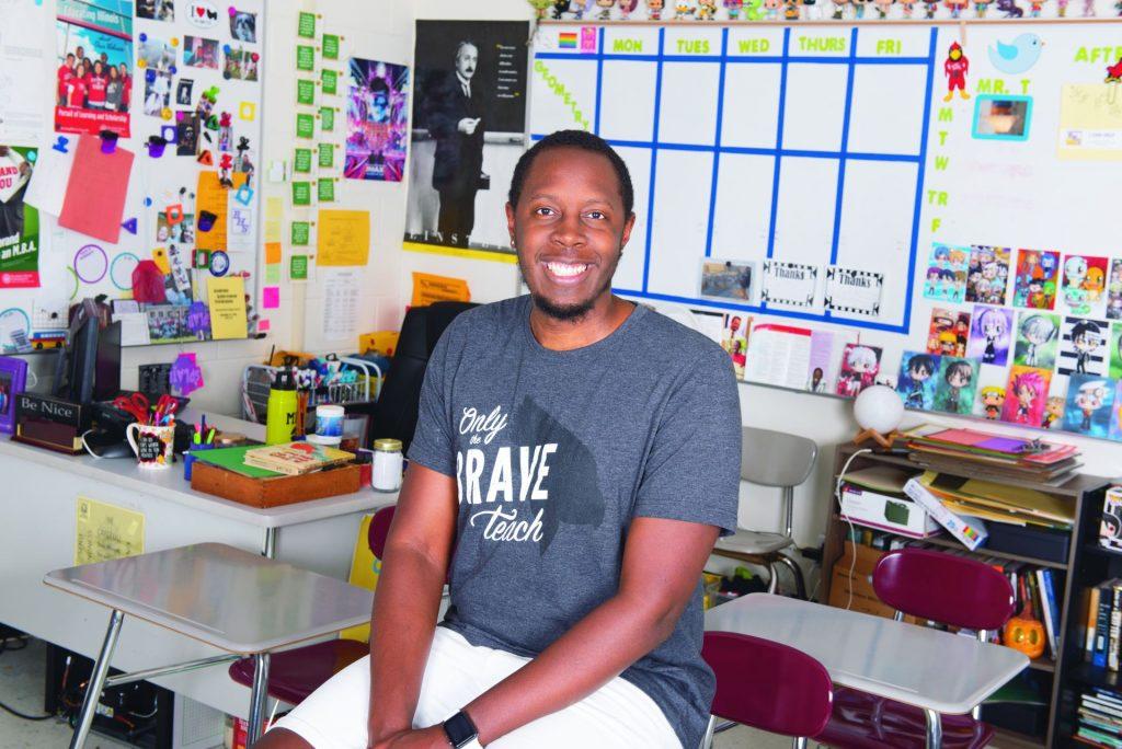 Brandon Thornton in his classroom