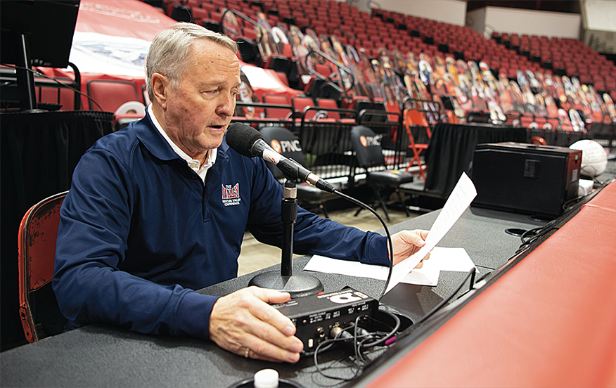 Dave Colee has spent nearly a quarter of a century as the public announcer for the women's basketball games in Redbird Arena.