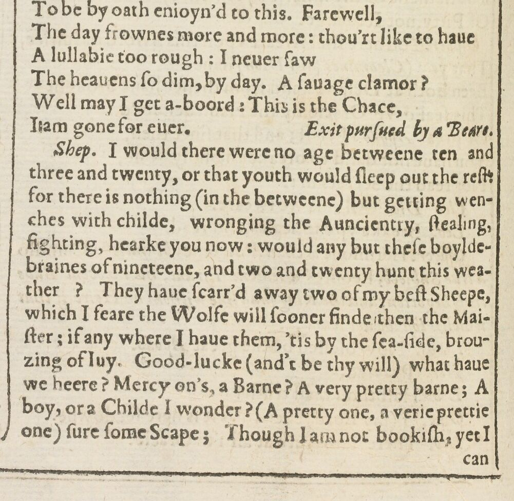 The famous stage direction in the First Folio. (The Bodleian First Folio digital facsimile, University of Oxford)