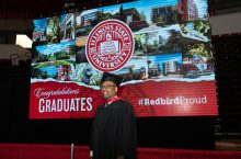 George Holloway Jr. of Bloomington, who finishes his MBA this spring, was among students to cross the stage on April 22.