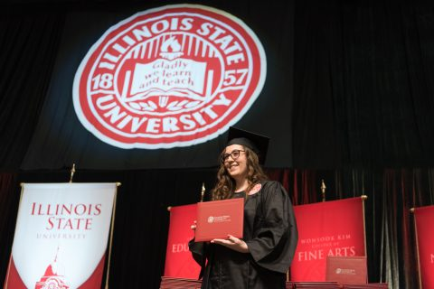 Jenna McGill of Yorkville, an exercise science major finishing her undergraduate degree, attended the Redbird Stage Crossing with her parents.