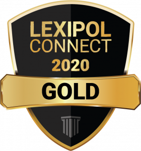 Logo: Black badge with gold band. Logo reads Lexipol Connect 2020 Gold