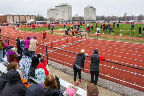 Hurdles at track meet