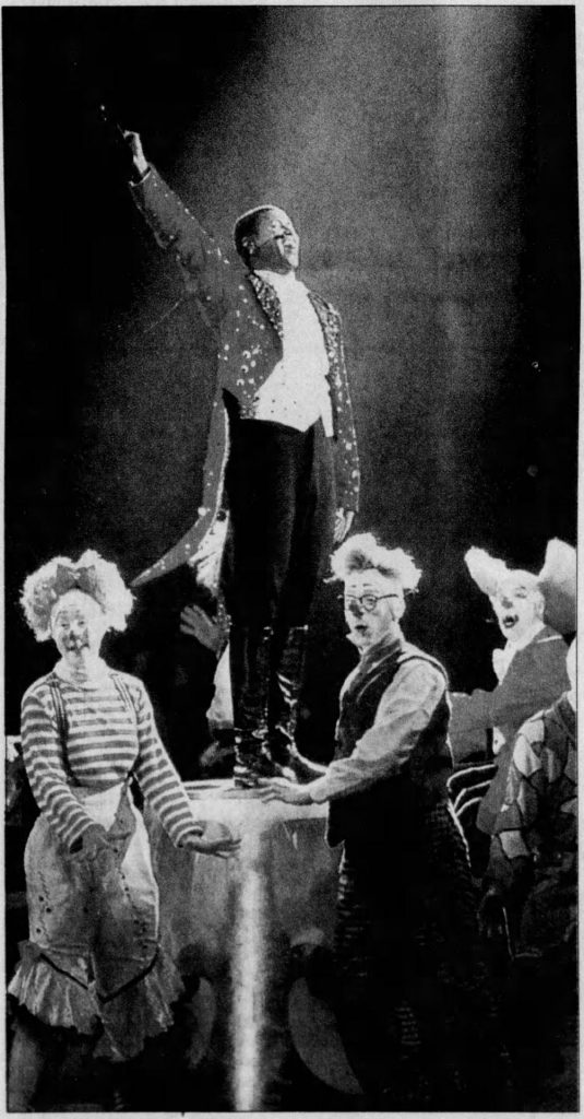 Ladies and gentlemen! Portrait of Johnathan Lee Iverson (1976-), ringmaster, Ringling Bros. and Barnum & Bailey Circus. Clipping from Courier-Post (Camden, New Jersey), April 13, 1999, page 39. https://www.newspapers.com/image/183655085