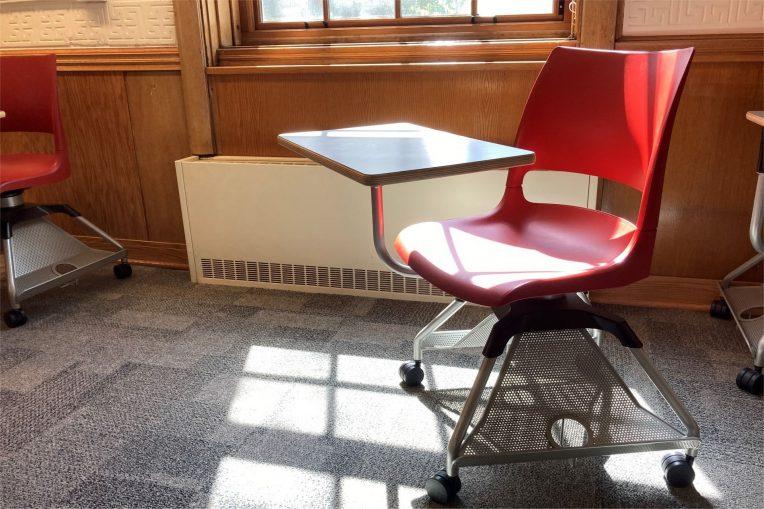 Empty seat in classroom