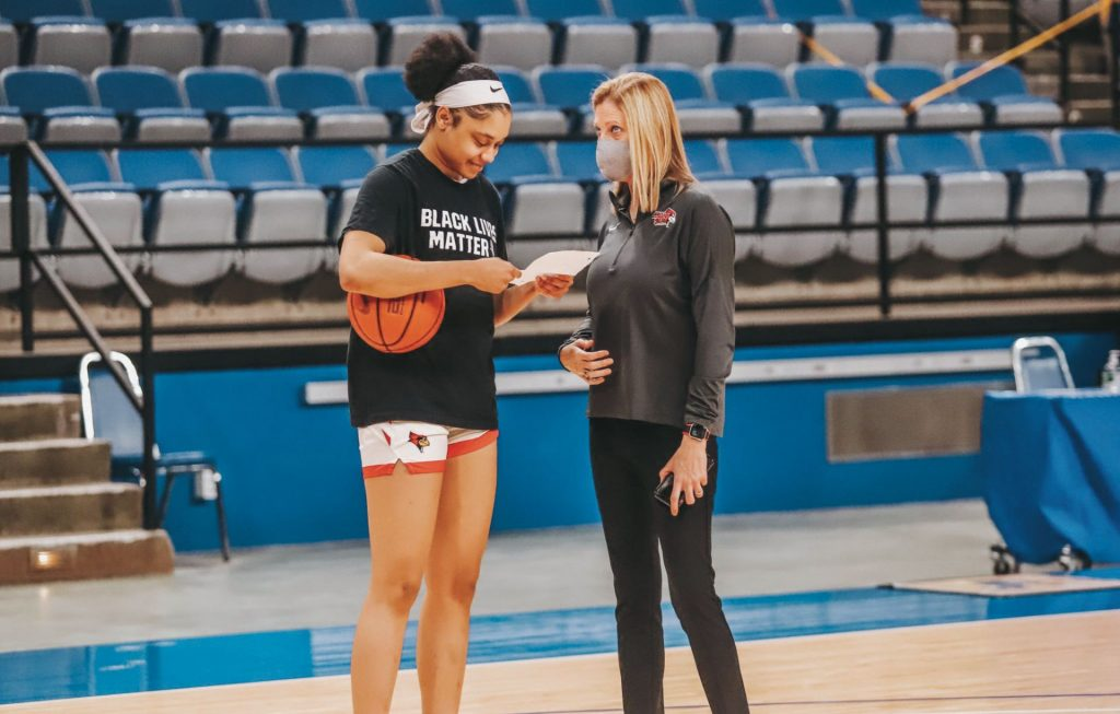 Head coach Kristen Gillespie and DeAnna Wilson, pregame at Indiana State