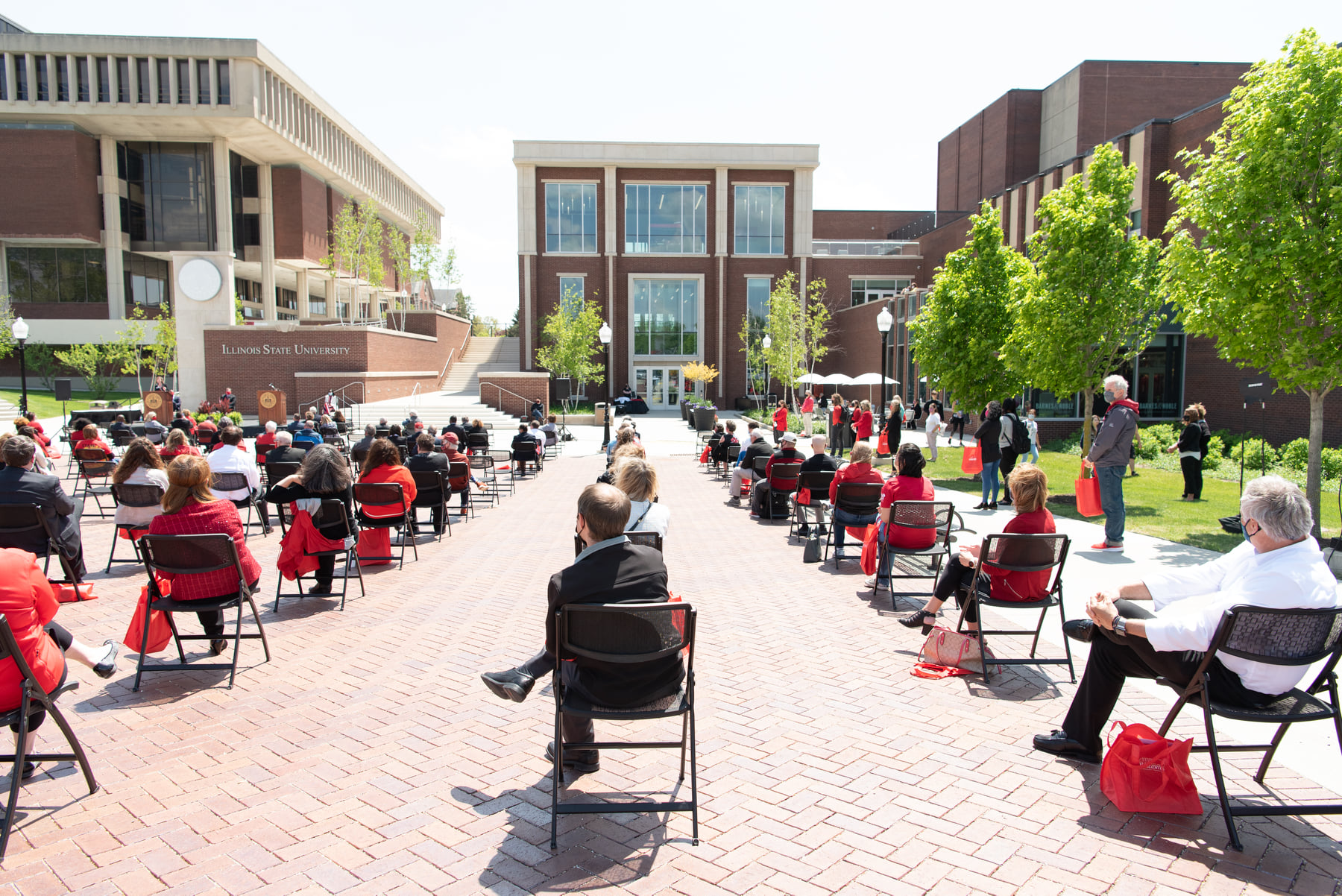 About 100 people gathered for the rededication of the Bone Student Center.