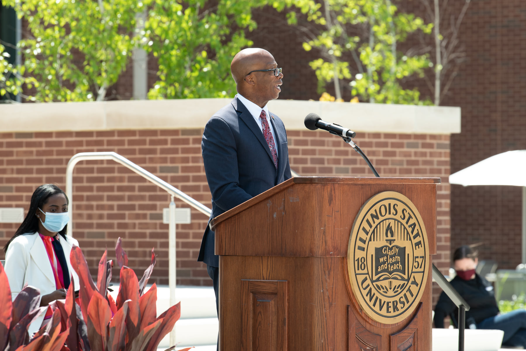 Vice President for Student Affairs Dr. Levester Johnson speaks at the Bone Student Center rededication.