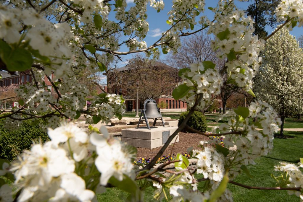Bell on the Quad with flowers in the forefront