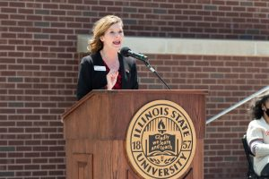 Assistant Vice President for Student Affairs Dr. Danielle Miller-Schuster speaks at the Bone Student Center rededication.