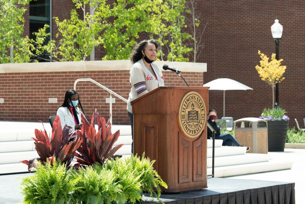 Board of Trustees Chairperson Julie Annette Jones speaks at the Bone Student Center rededication.