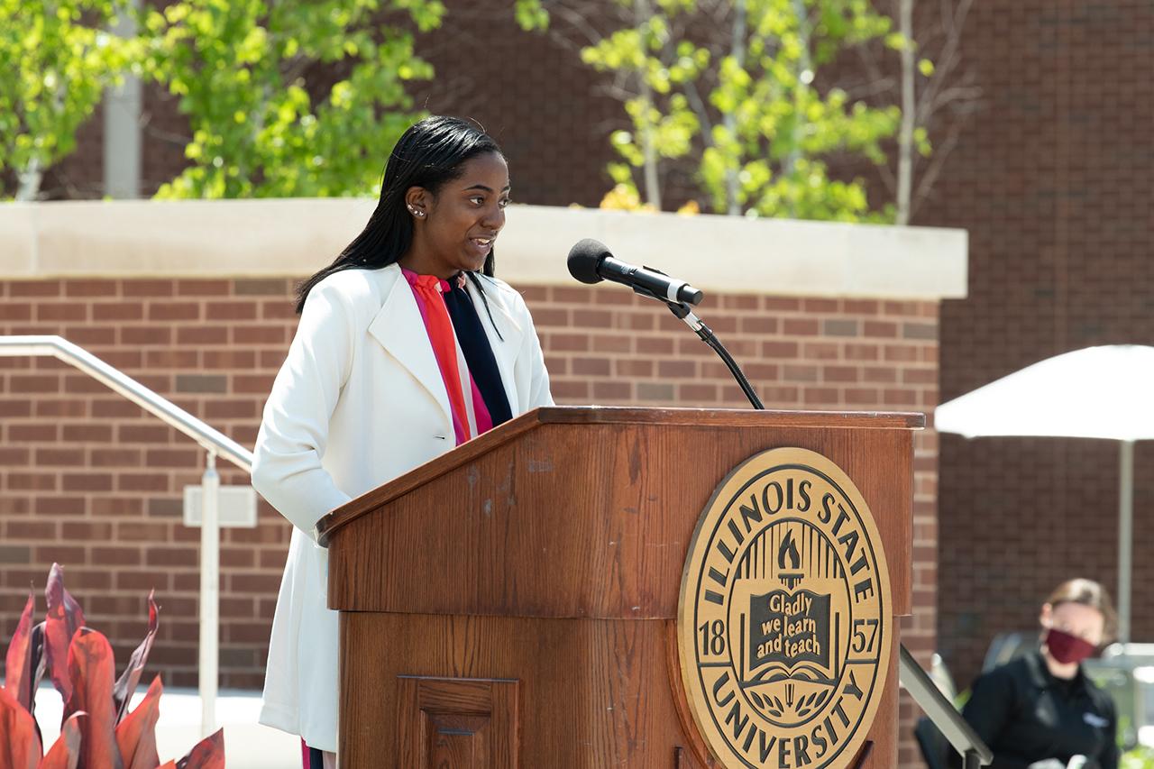 Student Trustee Jada Turner speaks at the Bone Student Center rededication.