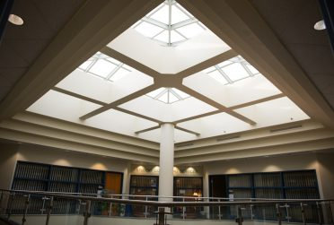 Skylight in the STudent Sevices Building with the Student COunseling Services in the background