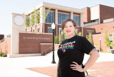 Jackie Gunderson in front of the Student Bone Center