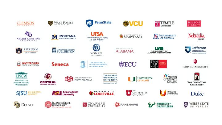 Campus logos for several universities recognized by Adobe