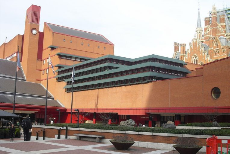 Exterior photo of British library, London, a modern brick building