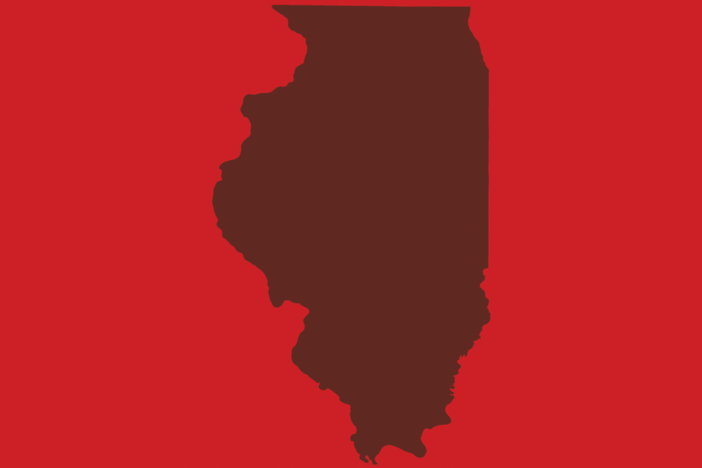 State of Illinois on a red background