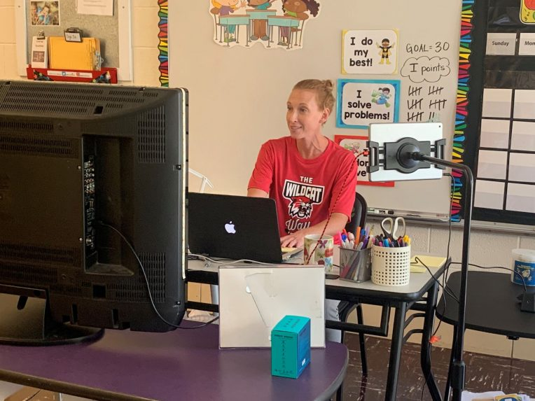 A teacher leads a virtual learning session.