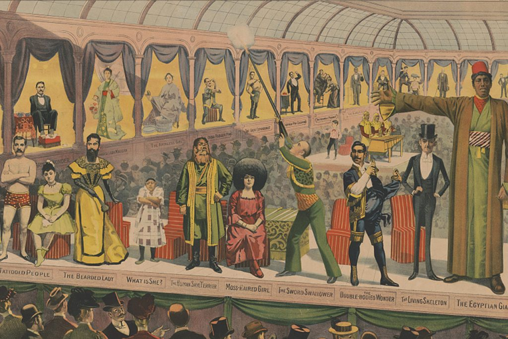 An excerpt of a circus poster from the late 1800's that shows a variety of diverse circus performers standing on stage
