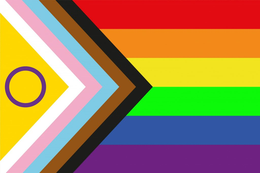 intersex inclusive pride progress flag created by Valentino Vecchietti created this redesign of the Pride flag for Intersex Equality Rights UK's Intersex Inclusion and Visibility campaign