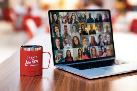 Cup and laptop, featuring EdBird Educators