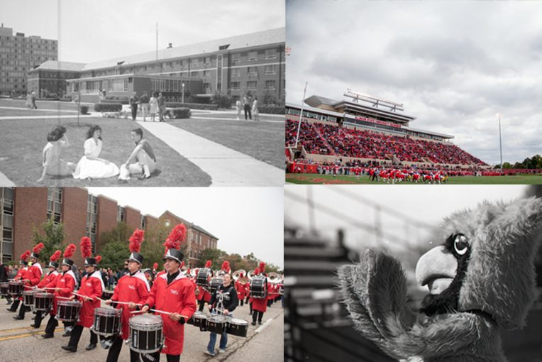 upper left: old photo of residence hall, upper right: football field, lower left: marching band, lower right: old reggie mascot