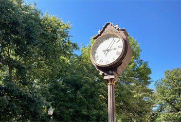 Clock on eastern side of the Quad