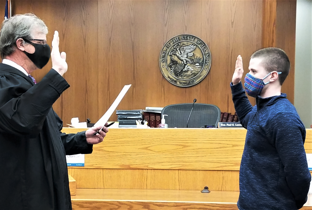 Officer Tyler Creamean is sworn in as an ISUPD officer
