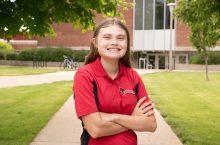 ISU student on Quad