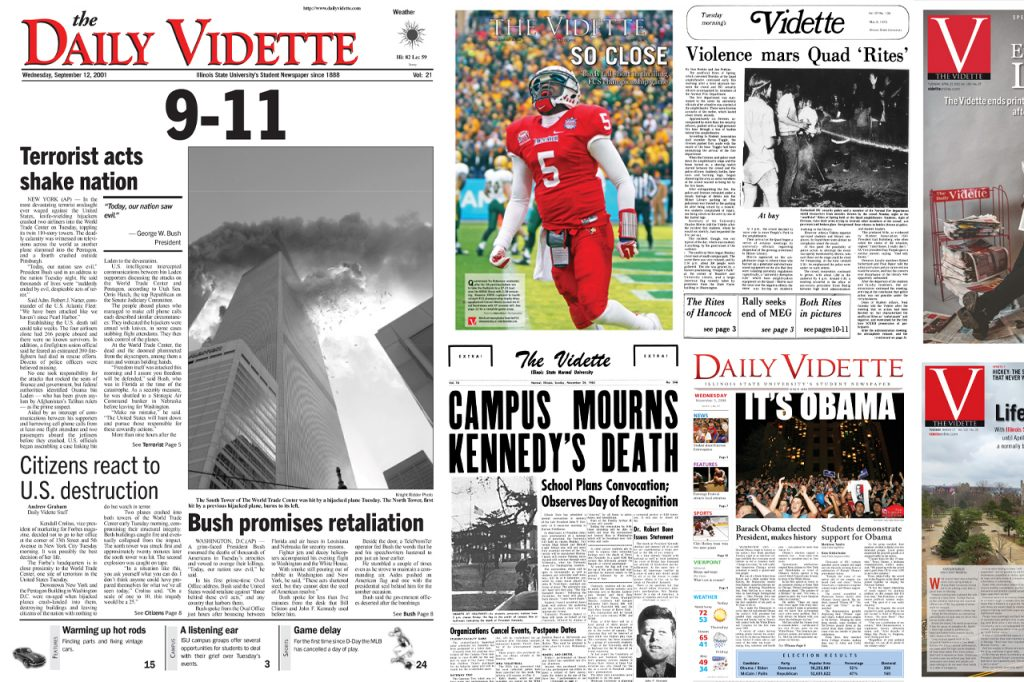 Collage of Daily Vidette front pages including the September 11 attacks, John F. Kennedy's death, Barack Obama's election.