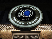 image of Chicago iO sign with the words Chicago's Best Improv Comedy iO, established 1981