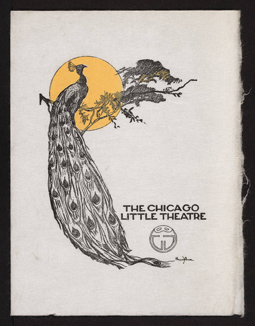 program cover with a peacock resting on a tree limb in front of a sun and the words The Chicago Little Theatre